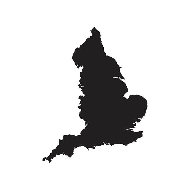 stockillustraties, clipart, cartoons en iconen met england black vector map flat design - engeland