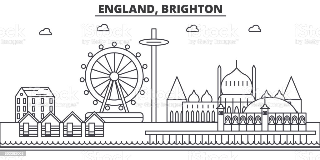 England, Brighton architecture line skyline illustration. Linear vector cityscape with famous landmarks, city sights, design icons. Landscape wtih editable strokes vector art illustration
