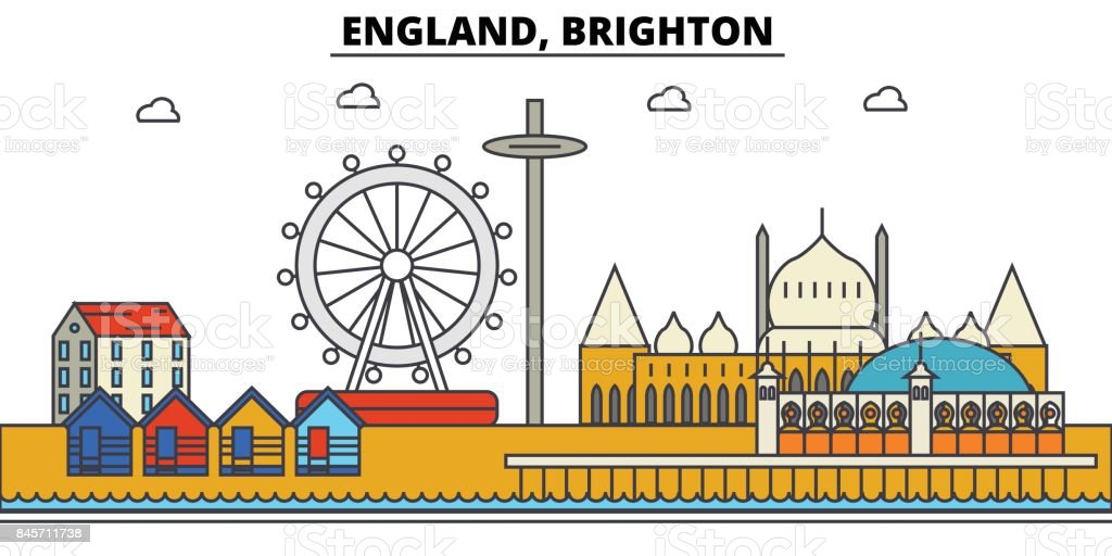 England, Brighton. City skyline: architecture, buildings, streets, silhouette, landscape, panorama, landmarks. Editable strokes. Flat design line vector illustration concept. Isolated icons set vector art illustration