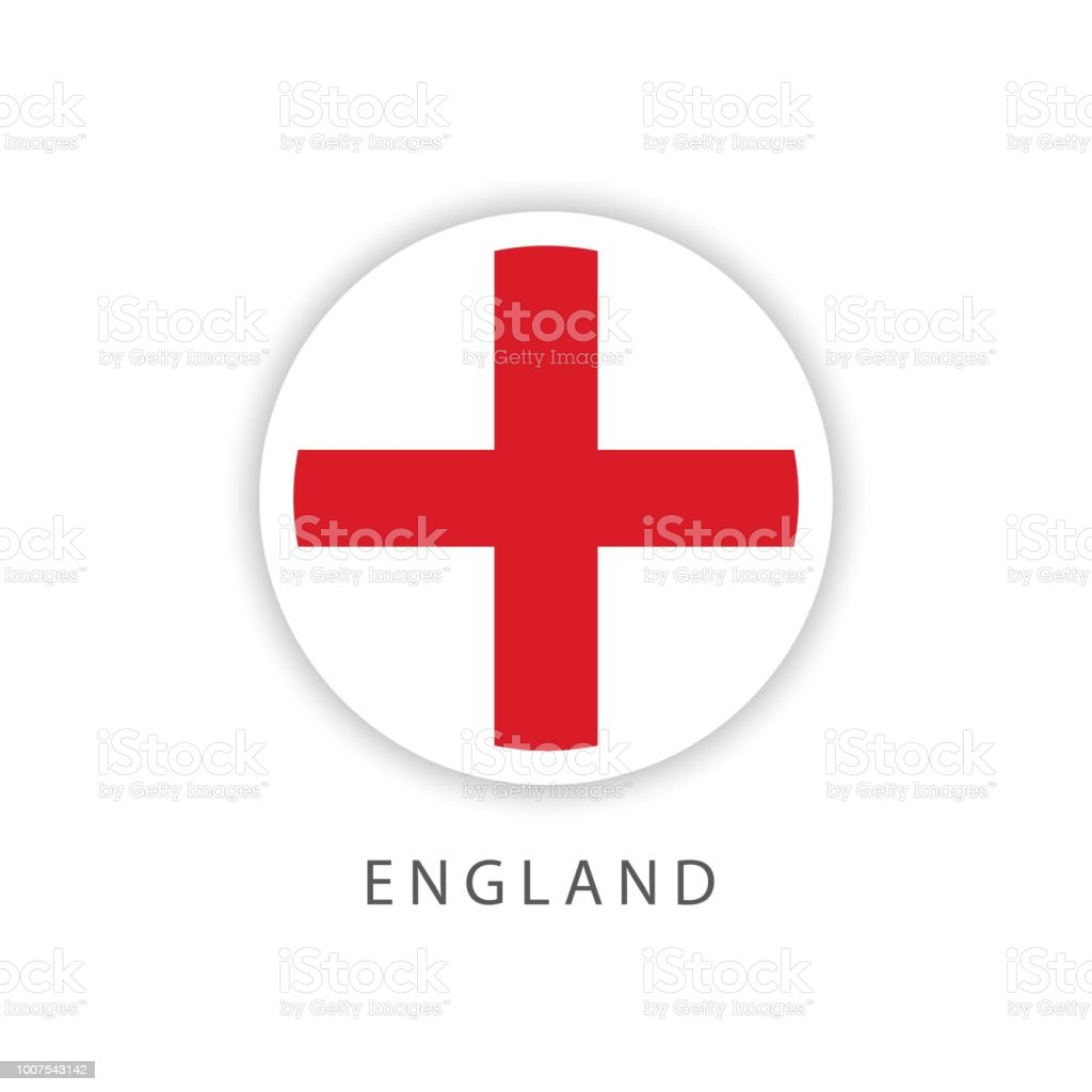 England Button Flag Vector Template Design Illustrator Stock
