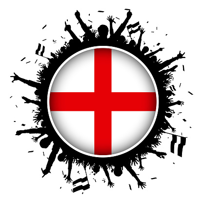 England button flag with soccer fans 2018