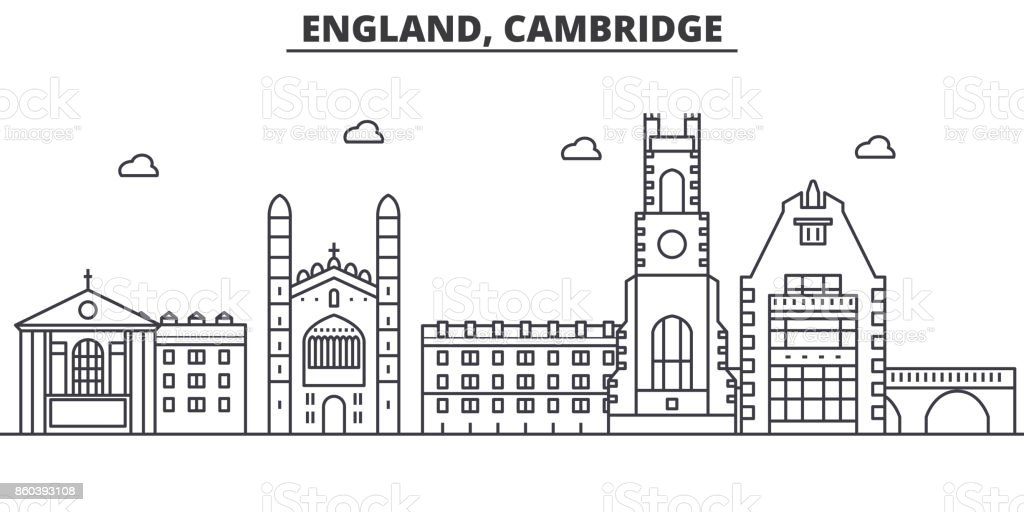 England, Cambridge architecture line skyline illustration. Linear vector cityscape with famous landmarks, city sights, design icons. Landscape wtih editable strokes vector art illustration