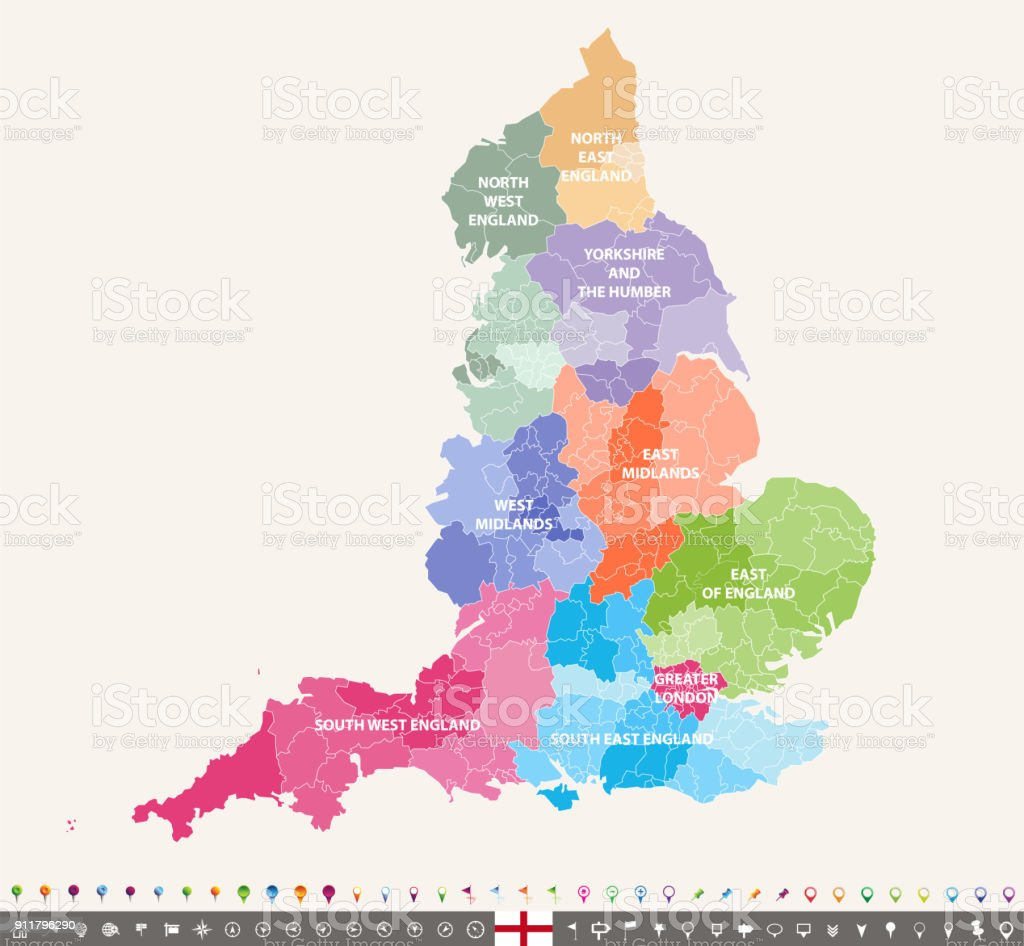 England ceremonial counties vector map colored by regions vector art illustration