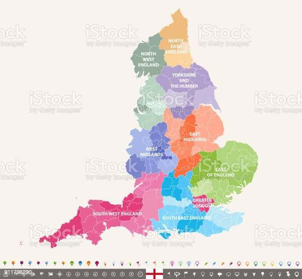Carte De Vecteur Angleterre Comtes Ceremonie Coloree Par Regions Vecteurs Libres De Droits Et Plus D Images Vectorielles De Angleterre Istock
