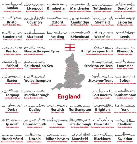 england städte skylines symbole mit den namen der stadt, region und zeremonielle grafschaft. flagge und landkarte von england - blackpool stock-grafiken, -clipart, -cartoons und -symbole