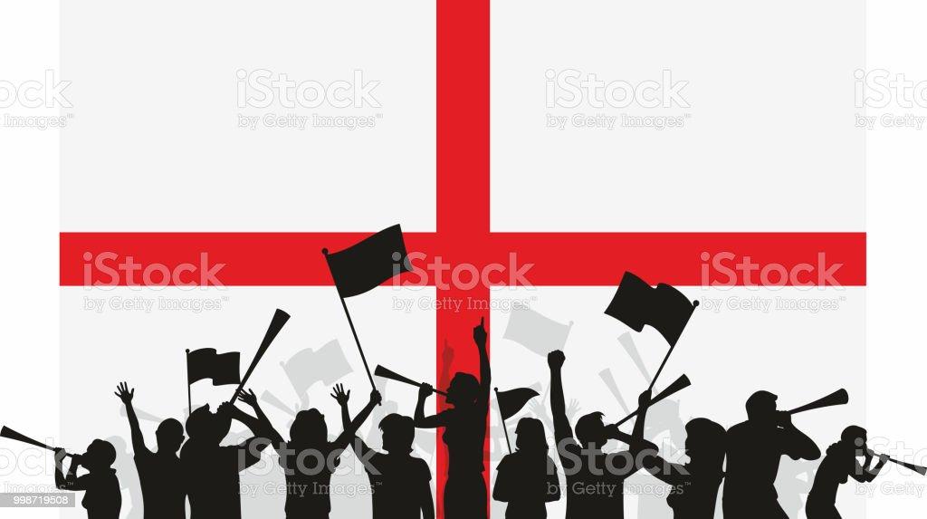 England Fans and Flag vector art illustration