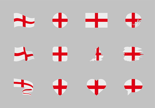 England flag - flat collection. Flags of different shaped twelve flat icons.