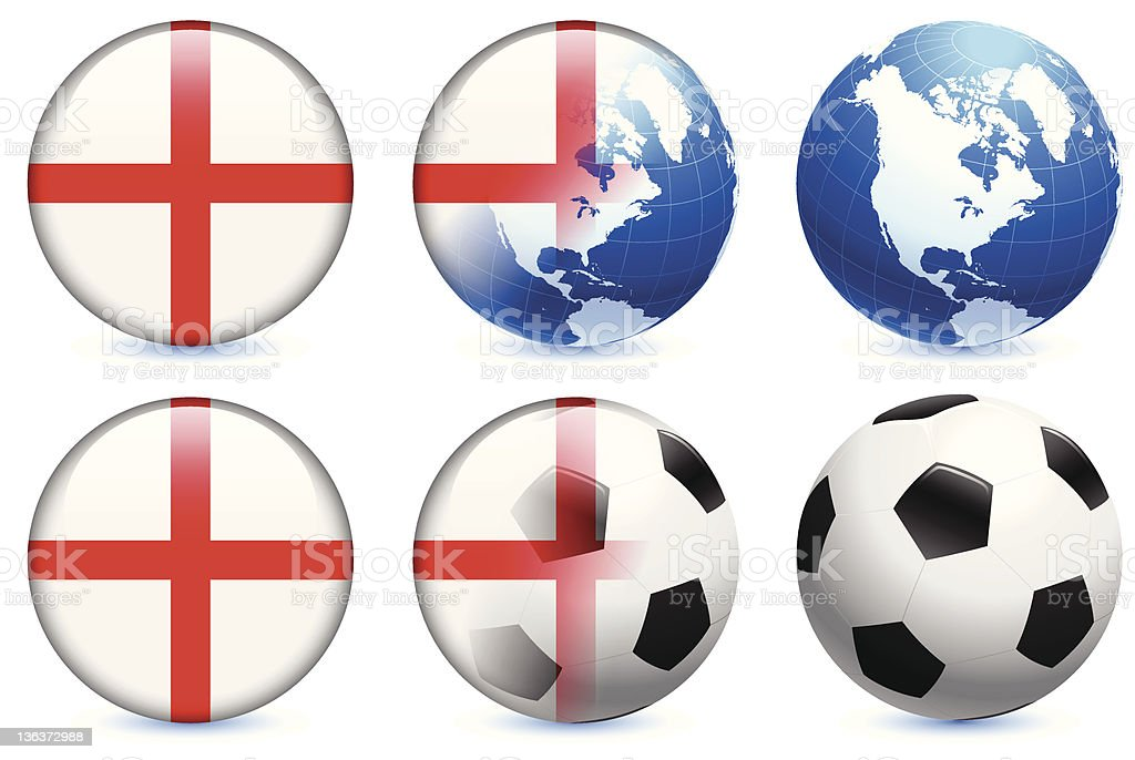 England Flag with Soccer ball and Globe royalty-free england flag with soccer ball and globe stock vector art & more images of ball