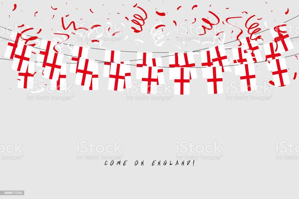 England Girlande Fahne Mit Konfetti Auf Grauem Hintergrund Hängen ...