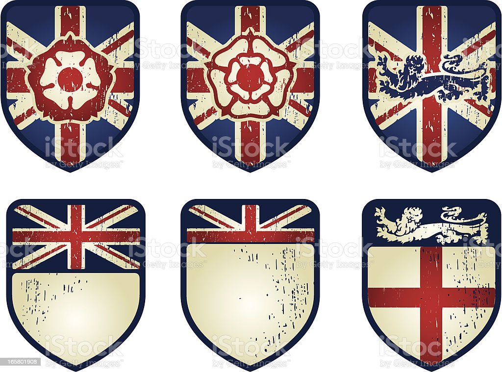 england grunge set vector art illustration