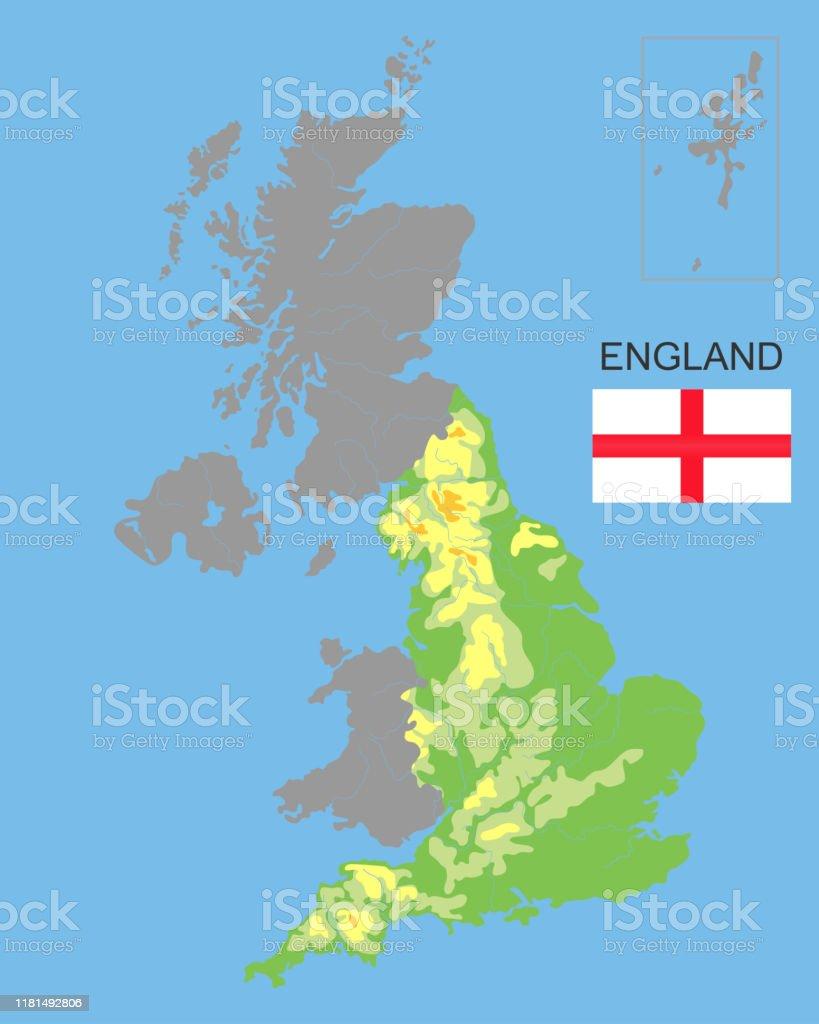 Escocia Mapa Reino Unido.Ilustracion De Inglaterra Es Parte Del Reino Unido Limita Con Irlanda Del Norte Gales Y Escocia Mapa Fisico Detallado Del Pais Coloreado Segun La Elevacion Con Rios Lagos Montanas Ilustracion Vectorial Y