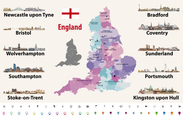 England largest cities skylines icons vector set. Map and flag of England. England largest cities skylines icons vector set. Map and flag of England. northeastern england stock illustrations