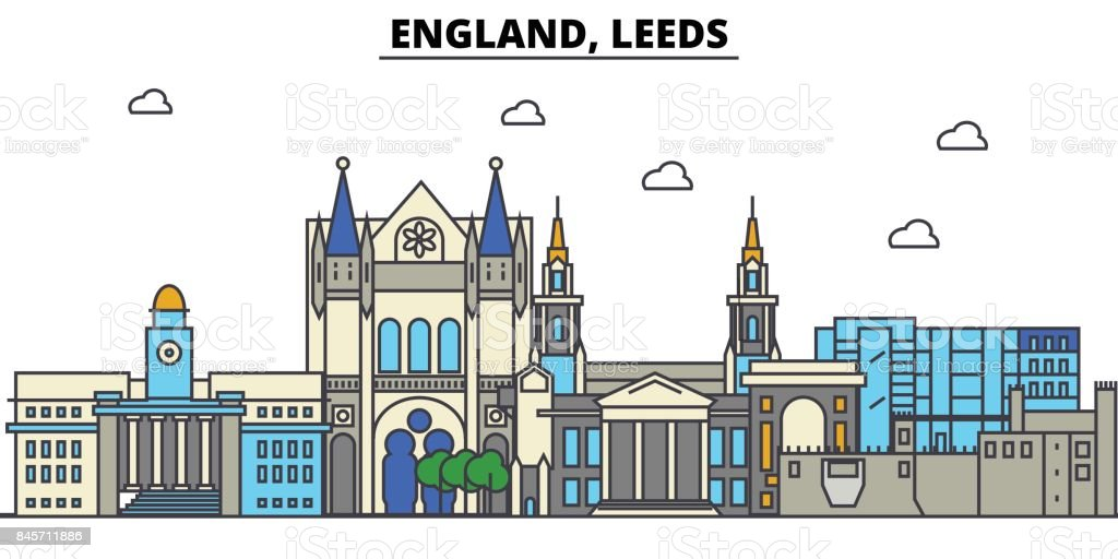 England, Leeds. City skyline: architecture, buildings, streets, silhouette, landscape, panorama, landmarks. Editable strokes. Flat design line vector illustration concept. Isolated icons set vector art illustration