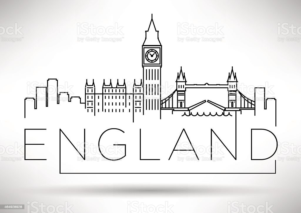 England Line Silhouette Typographic Design vector art illustration
