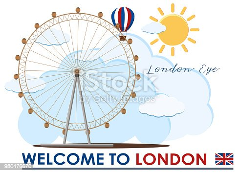 England London Eye Travel Landmark illustration