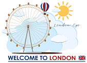 England London Eye Travel Landmark illustration