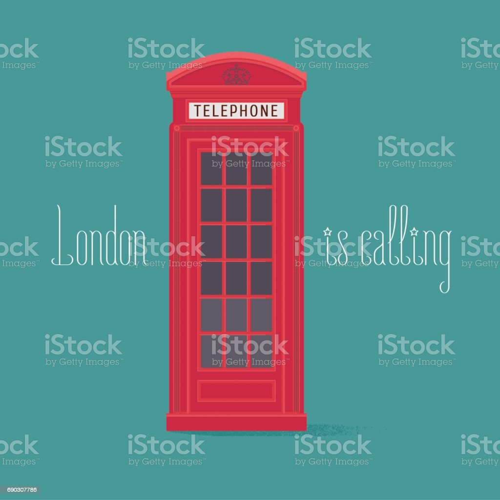 England, London red phone booth vector illustration with quote vector art illustration