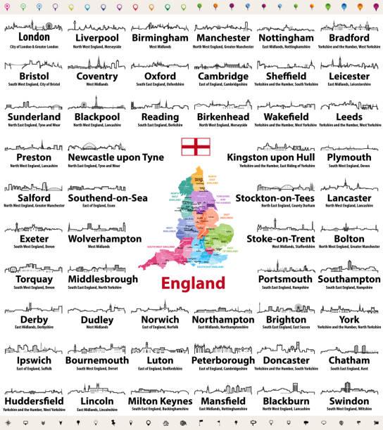 städten in england abstrakte skyline-silhouetten-symbole. landkarte von england mit allen größeren städten und verwaltungseinheiten grenzen - blackpool stock-grafiken, -clipart, -cartoons und -symbole