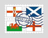England northern ireland scotland and wales flags on postage stamps