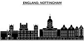 England, Nottingham architecture vector city skyline, travel cityscape with landmarks, buildings, isolated sights on background