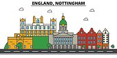 England, Nottingham. City skyline: architecture, buildings, streets, silhouette, landscape, panorama, landmarks. Editable strokes. Flat design line vector illustration concept. Isolated icons set