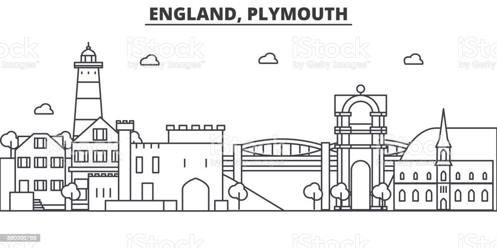 England, Plymouth architecture line skyline illustration. Linear vector cityscape with famous landmarks, city sights, design icons. Landscape wtih editable strokes vector art illustration