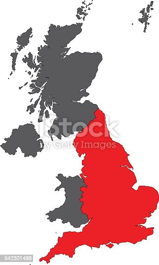 England Red Map On Gray United Kingdom Map Vector Stock Vector Art - United kingdom map vector
