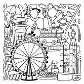 istock England Related Cartoon Doodle Illustration. Hand Drawn Vector 1327959732