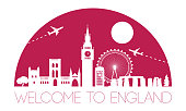 England top famous landmark silhouette and dome with pink color style,travel and tourism,vector illustration