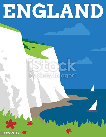 Simple Art Deco style poster showing the white cliffs of Dover