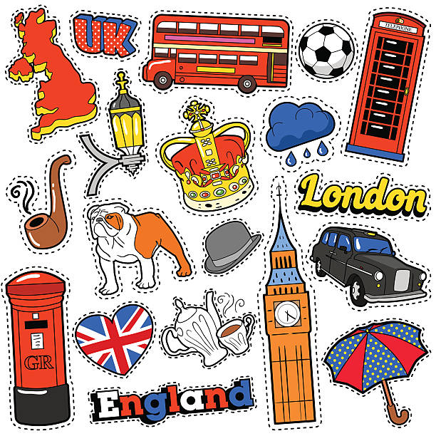 england travel scrapbook stickers, patches, badges - london fashion stock illustrations, clip art, cartoons, & icons