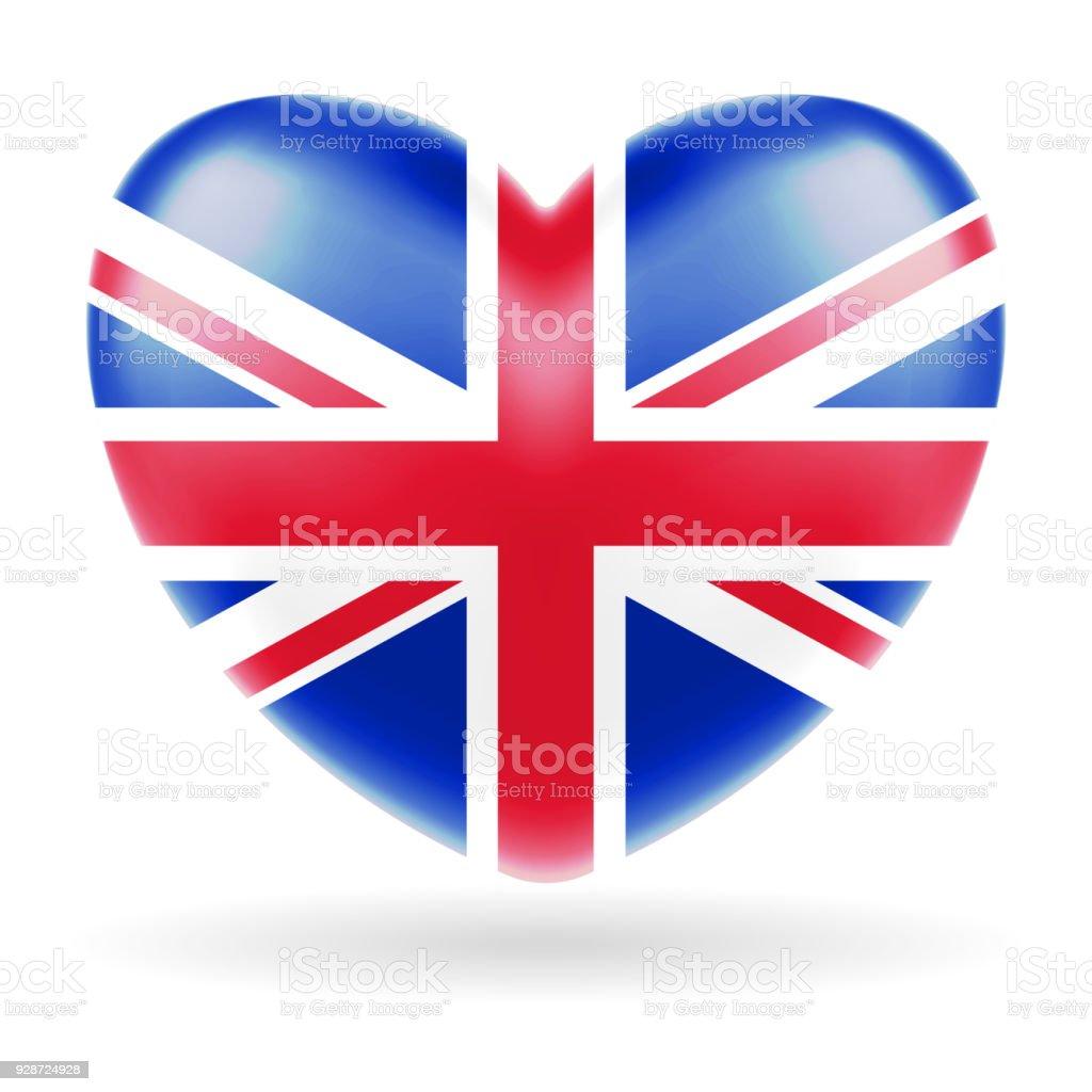 Bandera Del Reino Unido De Inglaterra Corazón Vector De Forma - Arte ...