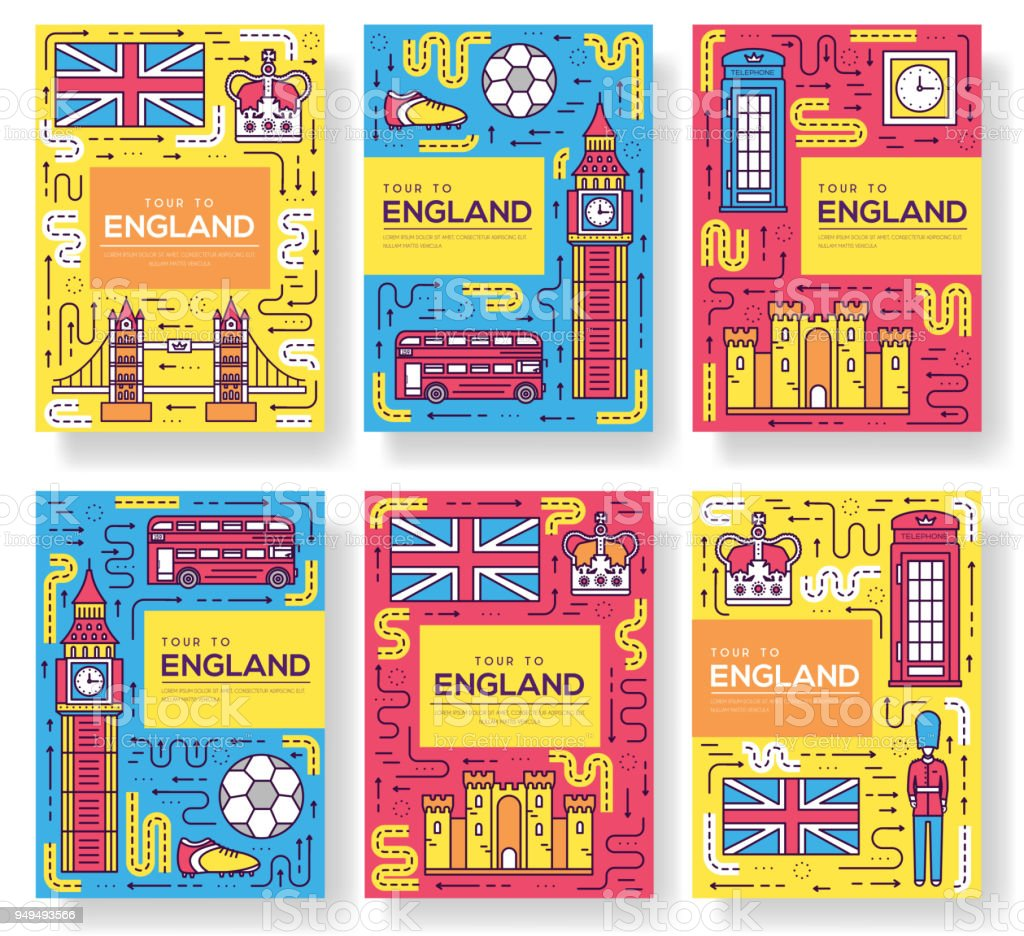 England Vektor Broschüre Karten Dünne Linie Set Land Reisen Vorlage ...