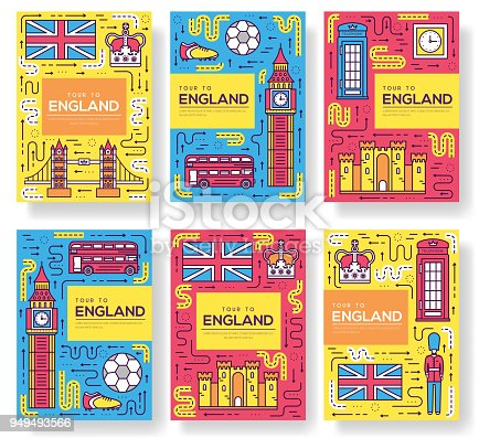 England vector brochure cards thin line set. Country travel template of flyear, magazines, posters, book cover, banners. Layout culture monument outline illustrations modern