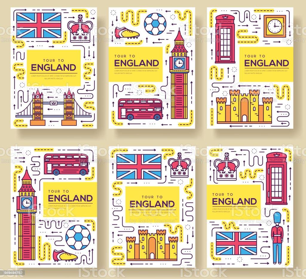 Ilustración de Inglaterra Vector Brochure Tarjetas Delgada Línea ...