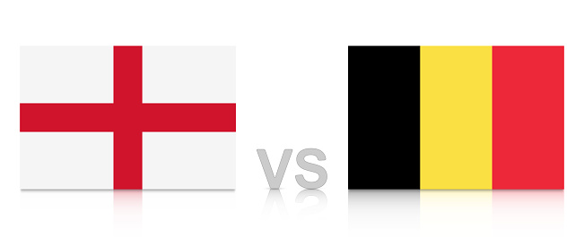 England vs. Belgium. Russia 2018. National flags with reflection isolated on white background.