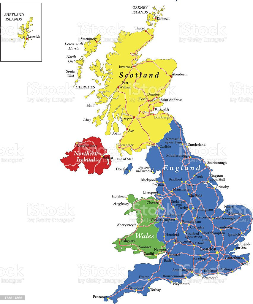 England,Scotland,Wales and North Ireland map vector art illustration