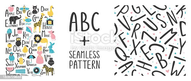istock English alphabet. ABC pattern 1328729633