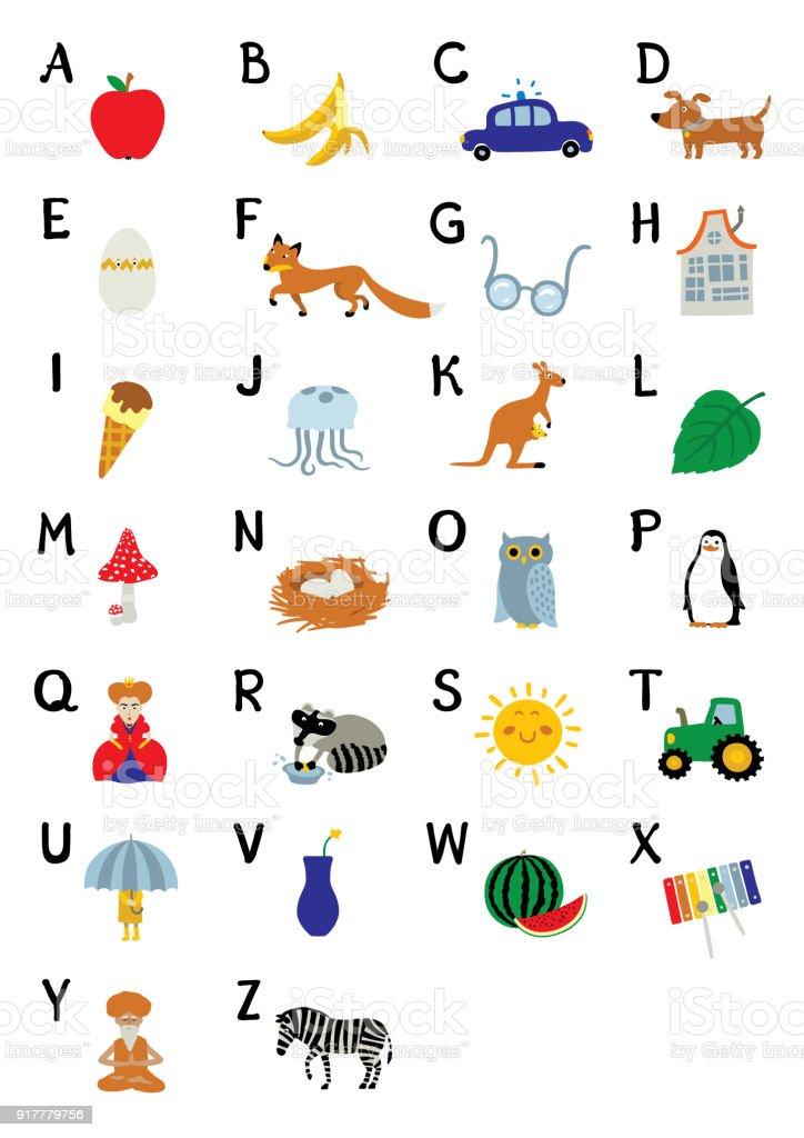 Preferência Abc De Alfabeto Inglês Com Fotos De Frutas Animais E Objetos  EG41