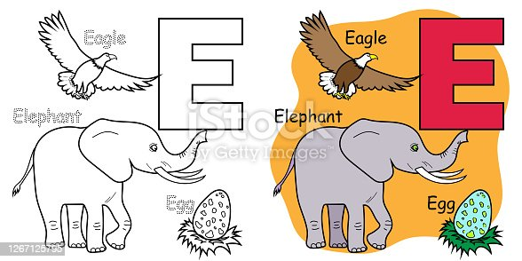istock English alphabet coloring book for children. Letter E 1267125795