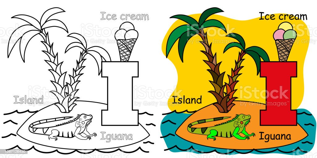 - English Alphabet Coloring Book For Children Letter I For Island Iguana Ice  Cream Vector Illustration Stock Illustration - Download Image Now - IStock