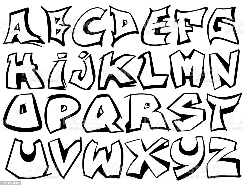 English Alphabet From A To Z Graffiti Font Design Vector