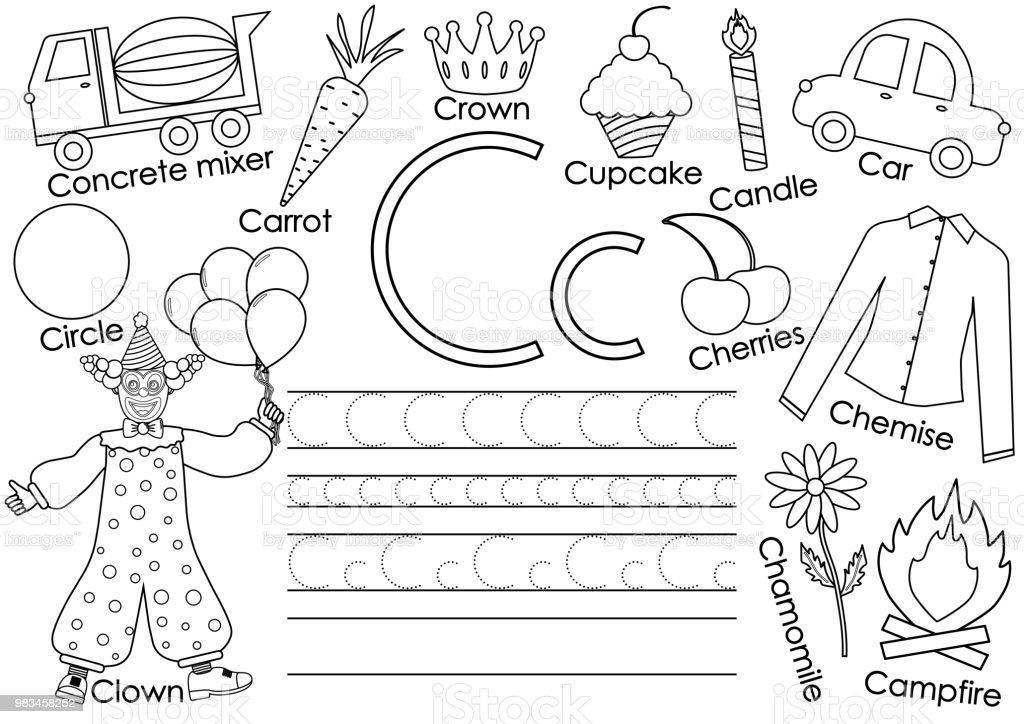 Ilustración de Alfabeto Inglés Letra C Tarjeta Con Fotos Y Escritura ...