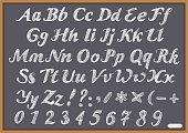 English alphabet letter Latin on chalk Blackboard