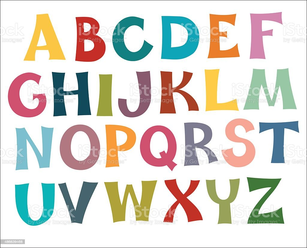 English alphabet multi colors vektör sanat illüstrasyonu