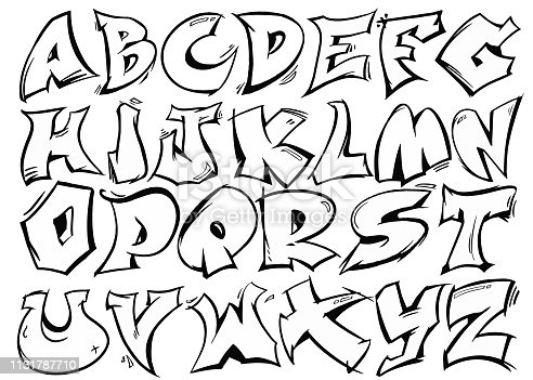 English alphabet vector from A to Z in graffiti black and white style.