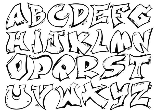 english alphabet vector from a to z in graffiti black and white style. - graffiti fonts stock illustrations, clip art, cartoons, & icons