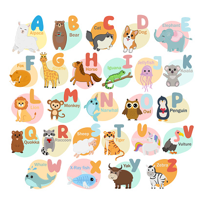 English alphabet with cute animals isolated on white background. Vector illustration for teaching children learning a foreign language.