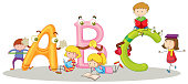 English alphabets and happy children