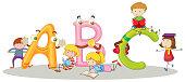 English alphabets and happy children
